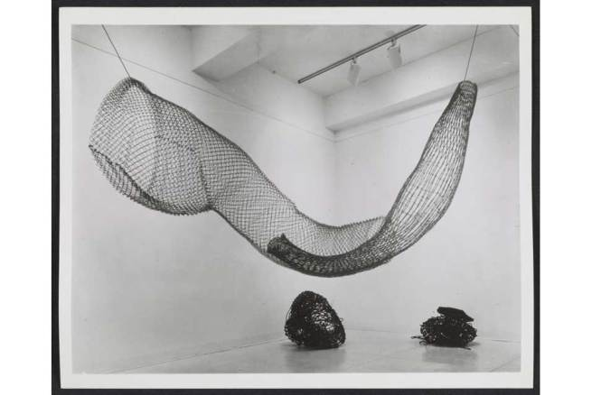 Installation view of Eccentric Abstraction including Alice Adams, Big Aluminum, 1965; Fischbach Gallery, New York, September 20–October 8, 1966; organized by Lucy R. Lippard Fischbach Gallery Records, Archives of American Art, Smithsonian Institution, Washington, D.C. Photo: © Fischbach Gallery, New York.